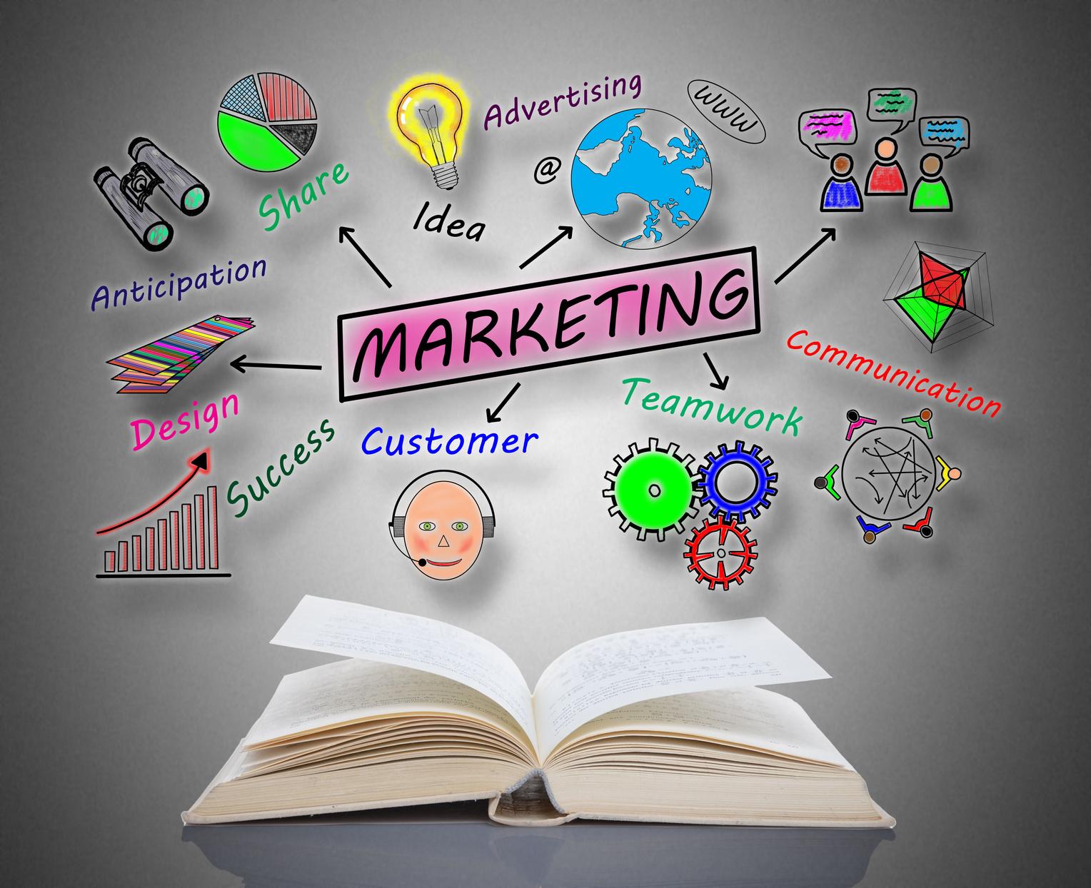 Marketing concept above an open book